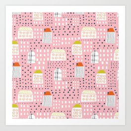Abstract pink black hand painted geometrical pattern Art Print