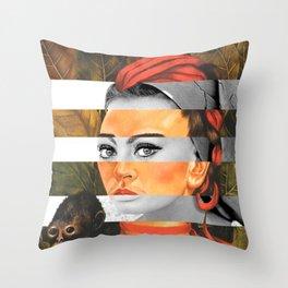 F.K.'s Self Portrait with Monkey & Sophia Loren Throw Pillow