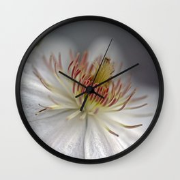 White Clematis Wall Clock