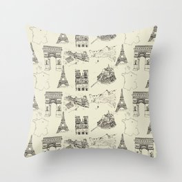 France vintage Throw Pillow