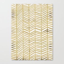 Gold Herringbone Canvas Print