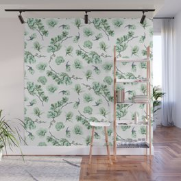 Pastel green watercolor modern orchid floral pattern Wall Mural