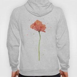 Poppy Flower Watercolor Hoody
