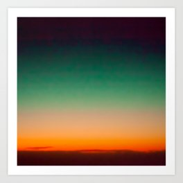 Green and Yellow Magic Dawn in the Sky (Vintage Nature Photography) Art Print