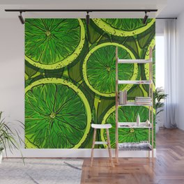 Lime slices on mango leaves Wall Mural