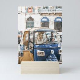 Vintage blue tuk-tuk, Lisbon Portugal   European travel photography wall art to inspire   Saige Ashton Prints Mini Art Print