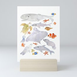 happy sea animals painting Mini Art Print