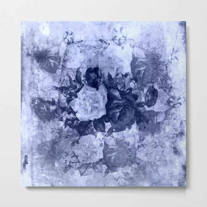 old roses in light blue Metal Print