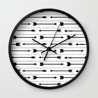 arrows Wall Clocks featuring Arrows by Hipster