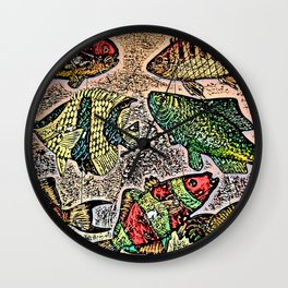 Fish Magnets Wall Clock