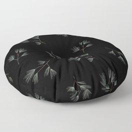 The botanical minimalist garden pine needles for Christmas green black Floor Pillow