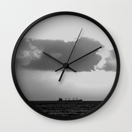 Evening clouds over the sea Wall Clock