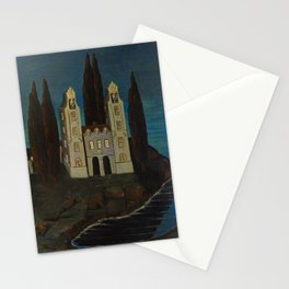 'La baie de la mer' - House on the Lake landscape painting by Bolesław Biegas Stationery Cards