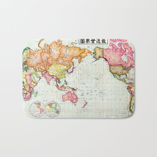 Colorful Antique Map of the World Bath Mat
