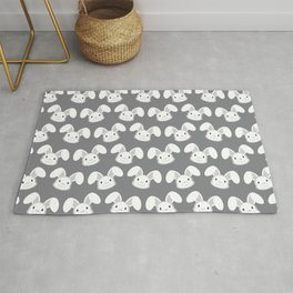 Cute White Bunny on Gray background Rug