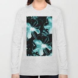 Teal Flowers Long Sleeve T-shirt