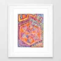 sacred geometry Framed Art Prints featuring Sacred Geometry  by Little Panda