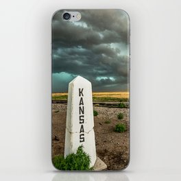 Welcome to Kansas - Railroad Sign and Storm iPhone Skin