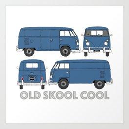old skool cool – vintage commercial panel van in Dove Blue Art Print