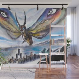 Monsters destroy the city - Yellowbox ink painting Wall Mural