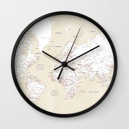 "Cream, white, red and navy blue world map, ""Deuce"" Wall Clock"