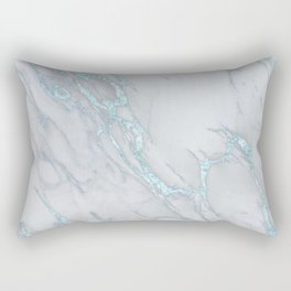 Marble Love Sea Blue Metallic Rectangular Pillow