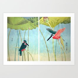 Kingfisher and Lotus Art Print