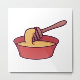 Bowl of Honey With Dipper Metal Print