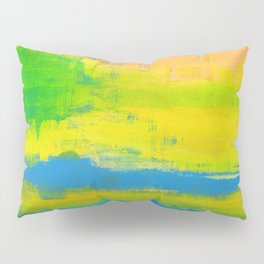 'A Sunny Day' Yellow Coral Blue Abstract Art Pillow Sham