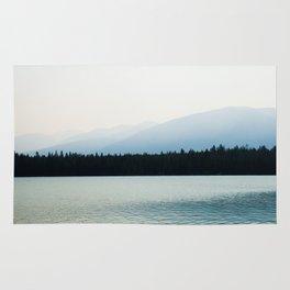 Misty Mountains - Lake Annette in Jasper, Canada Rug