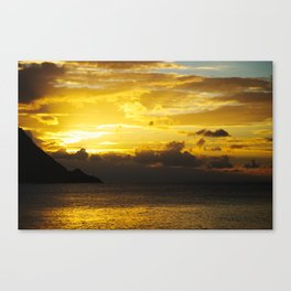 Sunset at Deshaies beach - Guadeloupe Canvas Print