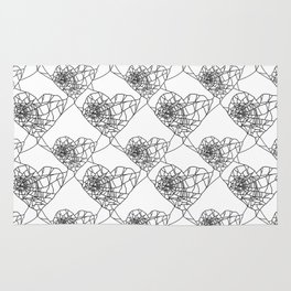 Heart shaped spider web pattern Rug