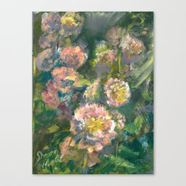 Ruffled Hollyhocks Canvas Print