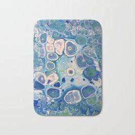 Blue Green Cells Fluid Pour Art Marble Swirls Stone Bath Mat