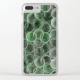 Black, white and green spiraled coils Clear iPhone Case