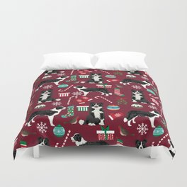 Border Collie christmas stockings presents holiday candy canes dog breed pattern Duvet Cover