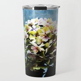 Shabby-chic Hydrangea Flower Travel Mug