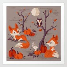 Fall Foxes Art Print