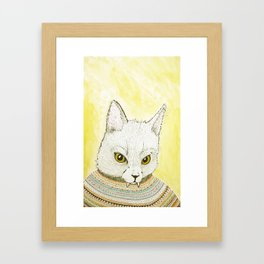 SWEATER AND ALSO CAT Framed Art Print