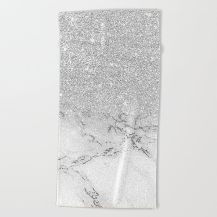 80716bd6cfd Popular Modern faux grey silver glitter ombre white marble Beach Towel by  BG27