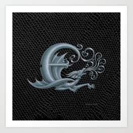 Dragon Letter E, from Dracoserific, a font full of Dragons. Art Print