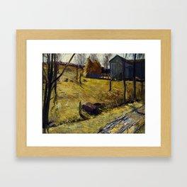 "George Wesley Bellows ""Haystacks and Barn"" Framed Art Print"