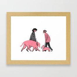Moments in New York: Dogs Meeting Framed Art Print