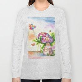 Mushroom House Watercolor Painting Long Sleeve T-shirt