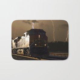 BNSF Locomotive Pulling Train in Thunderstorm at Henrietta MO Bath Mat