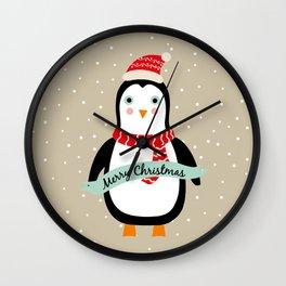 "Cute Penguin wishes ""Merry Christmas"" - X-mas Christmas Winter Design Wall Clock"