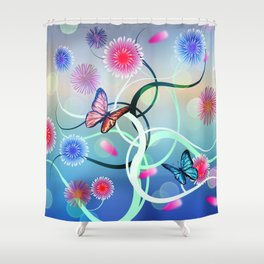 Dahlias and Vines Shower Curtain