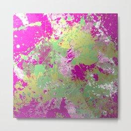 Metallic Pink Splatter Painting - Abstract pink, blue and gold metallic painting Metal Print