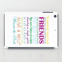 winnie the pooh iPad Cases featuring Winnie the Pooh Friendship Quote - Bright Colors by Jaydot Creative