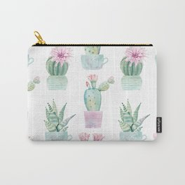 Simply Echeveria Cactus in Pastel Cactus Green and Pink Carry-All Pouch